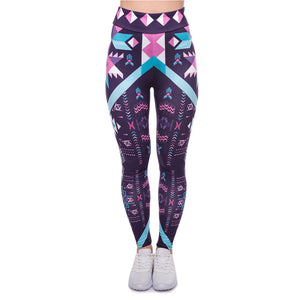 Aztec Dark Purple Printing High Waist Women Leggings