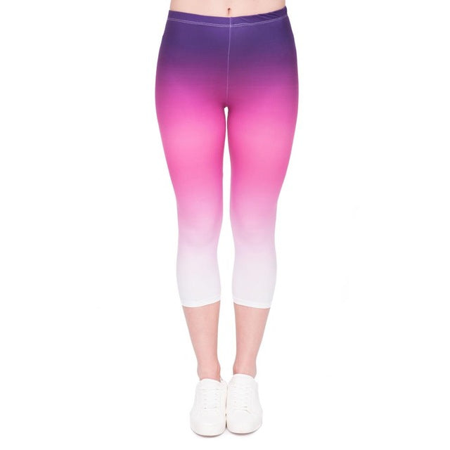 Gradient Color Printing Mid-Calf 3/4 Women Capri Leggings