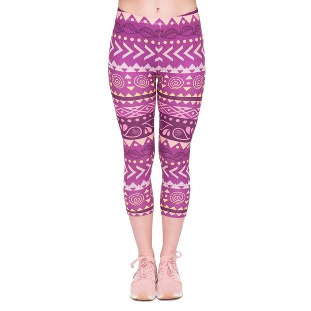 Boho Purple Printing Mid-Calf 3/4 Women Capri Leggings