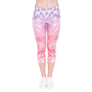 Triangles Pink Marble Printing Mid-Calf 3/4 Women Capri Leggings