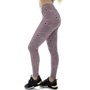 Purple Flora Printing High Waist Women Leggings