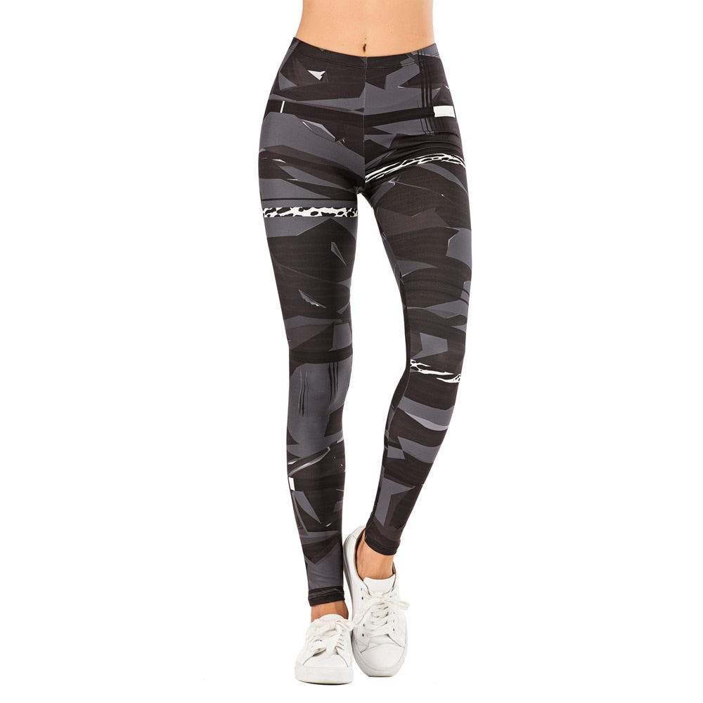 Geometric Stitching Leopard Printing High Waist Women Leggings