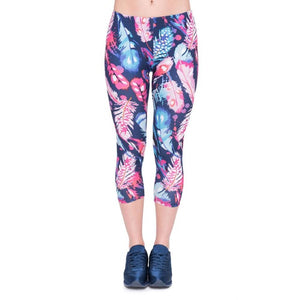 Feathers Color Printing Mid-Calf 3/4 Women Capri Leggings