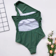 Load image into Gallery viewer, One-Shoulder Bra Tie Padded One Piece Swimsuit Green