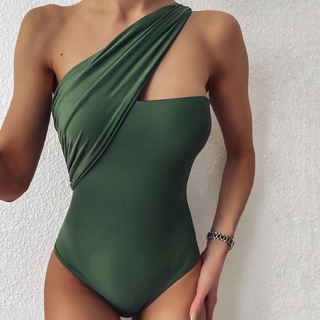 One-Shoulder Bra Tie Padded One Piece Swimsuit Green