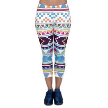 Load image into Gallery viewer, Aztec Morski Printing Mid-Calf 3/4 Women Capri Leggings