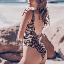 Load image into Gallery viewer, Leopard Print Backless One Piece Padded Swimsuit