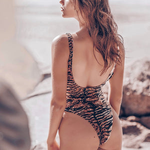 Leopard Print Backless One Piece Padded Swimsuit