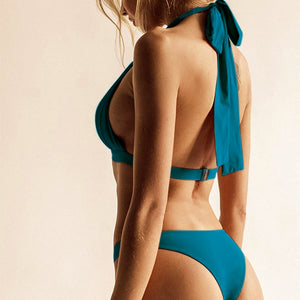 Halter Neck Solid High Cut Green Bikini Set