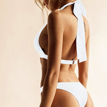 Load image into Gallery viewer, Halter Neck Solid High Cut White Bikini Set