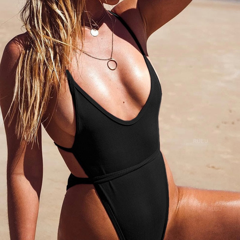 Solid Straps String Padded One Piece Swimsuit Black