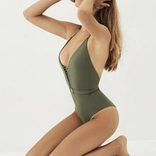 Load image into Gallery viewer, Halter Belt Padded One Piece Swimsuit Green