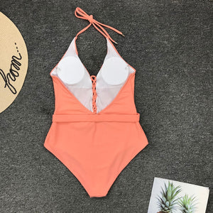 Halter Belt Padded One Piece Swimsuit Orange