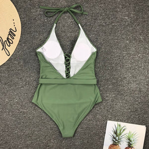 Halter Belt Padded One Piece Swimsuit Green