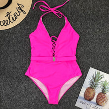 Load image into Gallery viewer, Halter Belt Padded One Piece Swimsuit Pink