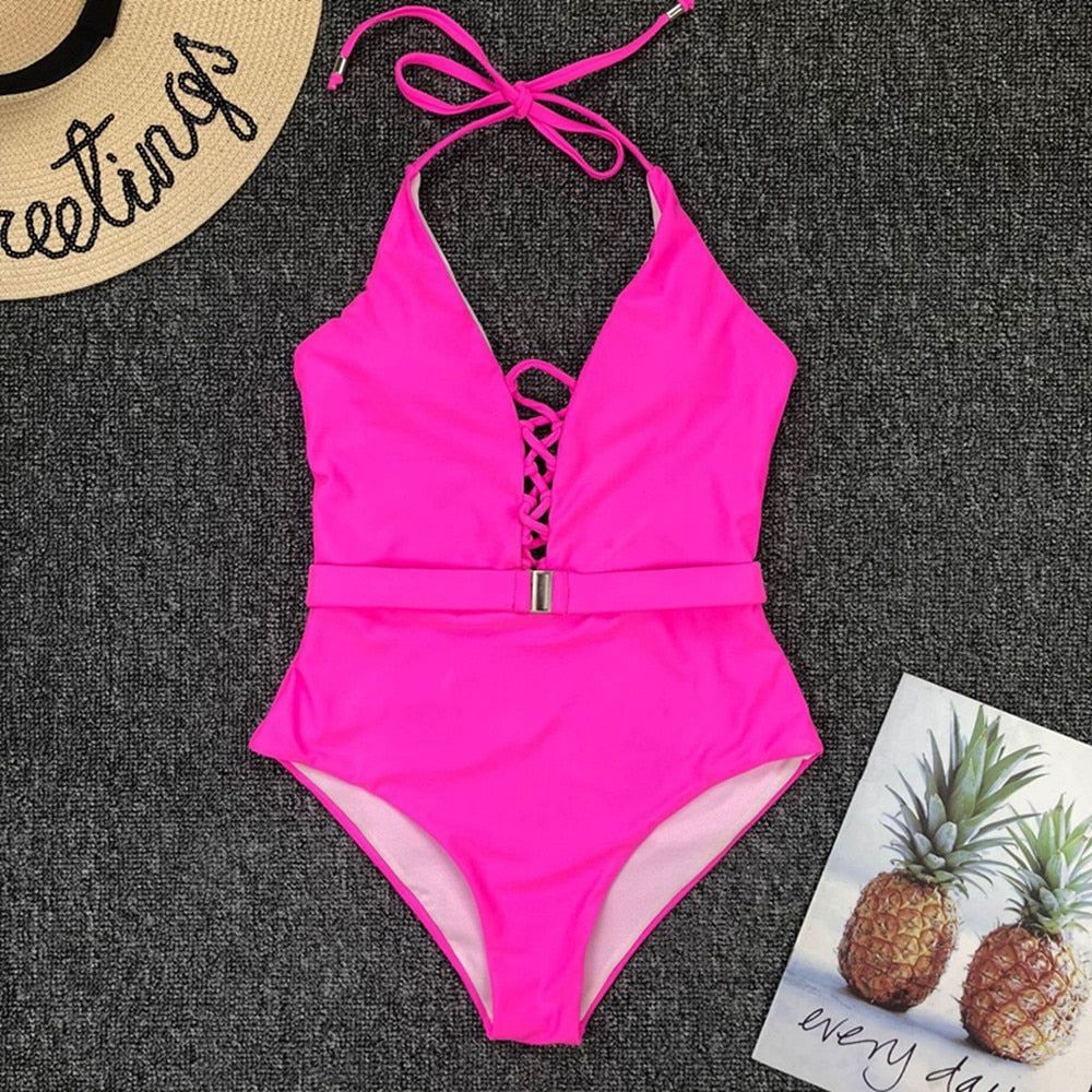 Halter Belt Padded One Piece Swimsuit Pink