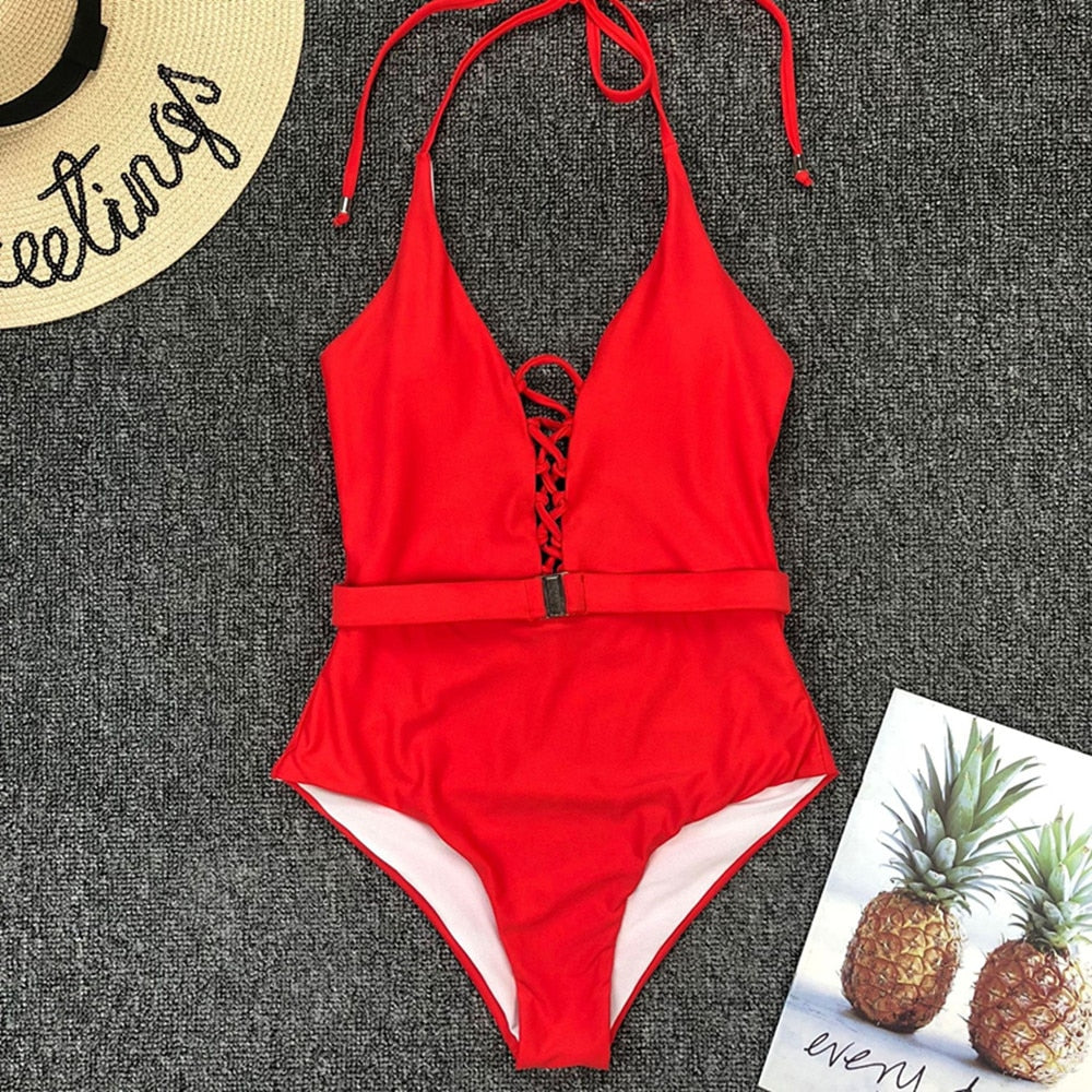 Halter Belt Padded One Piece Swimsuit Rose Red