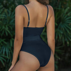 Straps Underwire Belt Padded One Piece Swimsuit Black