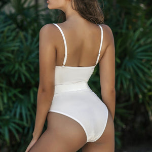 Straps Underwire Belt Padded One Piece Swimsuit White