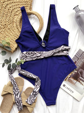 Load image into Gallery viewer, Snake Print Belt Bandage Padded One Piece Swimsuit