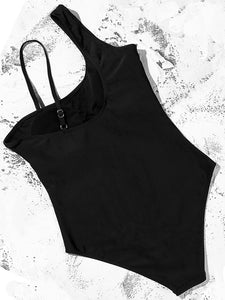 Asymmetry Straps Padded One Piece Swimsuit black