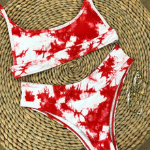 Load image into Gallery viewer, Red Tie Dye Padded Bikini Set