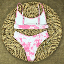 Load image into Gallery viewer, Pink Tie Dye Padded Bikini Set