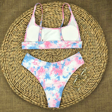 Load image into Gallery viewer, Pink Blue Tie Dye Padded Bikini Set