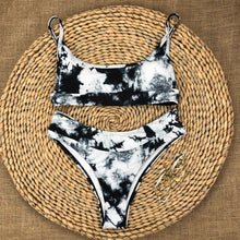 Load image into Gallery viewer, Black Tie Dye Padded Bikini Set