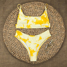 Load image into Gallery viewer, Yellow Tie Dye Padded Bikini Set
