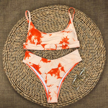 Load image into Gallery viewer, Orange Tie Dye Padded Bikini Set
