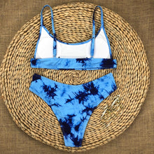 Load image into Gallery viewer, Blue Tie Dye Padded Bikini Set