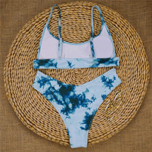 Load image into Gallery viewer, Cyan Tie Dye Padded Bikini Set
