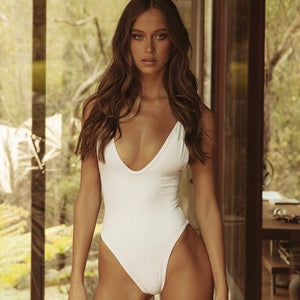 Straps Ring Padded One Piece Swimsuit White