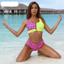 Load image into Gallery viewer, Pink Leopard Printed Patchwork Padded Bikini Set