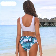 Load image into Gallery viewer, Green Leaves Printed Patchwork Padded Bikini Set