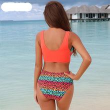 Load image into Gallery viewer, Orange Leopard Printed Patchwork Padded Bikini Set