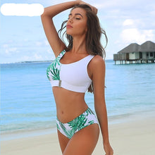 Load image into Gallery viewer, White Ferns Printed Patchwork Padded Bikini Set