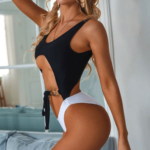 Ring Bow Bandage Padded One Piece Swimsuit Black