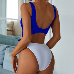 Ring Bow Bandage Padded One Piece Swimsuit Blue