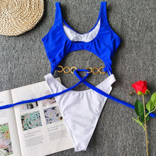 Load image into Gallery viewer, Ring Bow Bandage Padded One Piece Swimsuit Blue