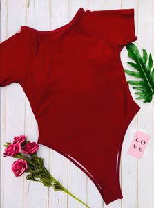 Solid Short Sleeve Backless Padded One Piece Swimsuit Red