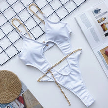 Load image into Gallery viewer, Chain One Piece Padded Swimsuit White