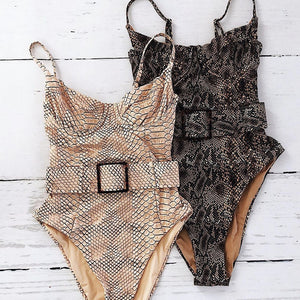 Snake Belt One Piece Padded Swimsuit
