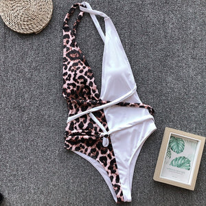 Leopard Print Padded Backless One Piece Swimsuit