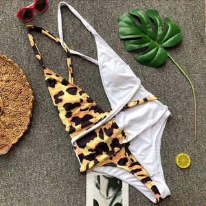 Leopard Print Padded Backless One Piece Swimsuit Yellow