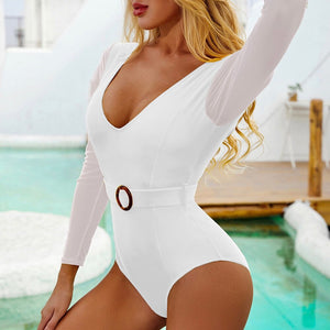 Long Sleeve Mesh Padded One Piece Swimsuit White