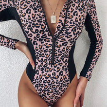 Load image into Gallery viewer, Zipper Leopard Print One Piece Padded Swimsuit