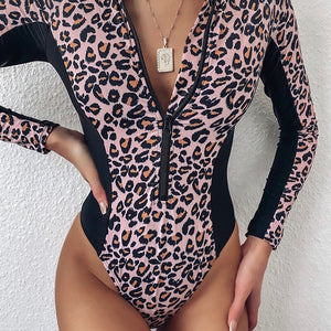 Zipper Leopard Print One Piece Padded Swimsuit