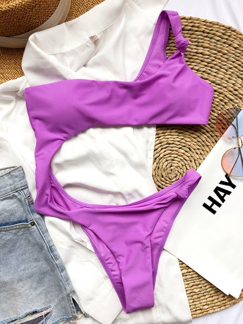 One Shoulder Solid Tie Padded One Piece Swimsuit Violet